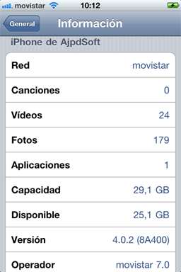 AjpdSoft Consultar la versión actual del software en el iPhone 4