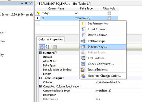 AjpdSoft Crear una tabla en una base de datos SQL Server 2008 R2 desde Microsoft SQL Server Management Studio