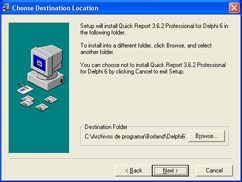 AjpdSoft Instalar componentes Delphi - Choose Destination Location